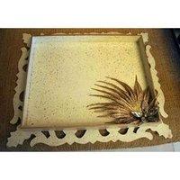 Designer White Carved Tray
