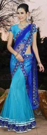 Blue Net Fabric Kali Frock Saree