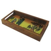 Wooden Tray with Painting