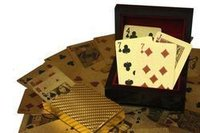 Gold Plated Poker Playing Card With Wooden Box