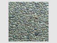 Green On Grey Base Pebble Tile