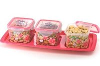 Set Of 1 Tray And 3 Air Tight Plastic Containers (Big)