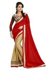 Georgette Saree with Full Embroided Blouse