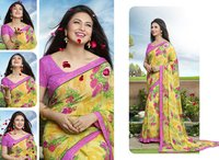 Yellow And Multi Color Printed Saree