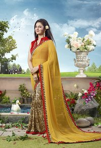 Beige, Multi, Yellow Color Printed Half And Half Saree