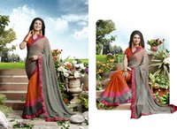 Orange And Grey Color Printed Half And Half Saree