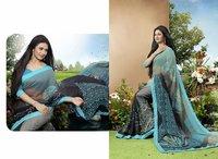 Designer Grey And Multi Color Printed Saree