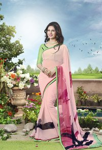 Light Pink And Multi Color Printed Saree