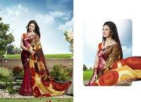 Rani And Multi Color Printed Half And Half Saree