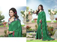 Rama Green Color Printed Saree