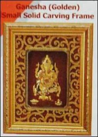 Ganesh (Golden) Small Solid Carving Frame
