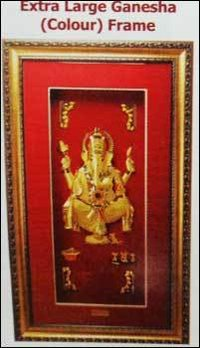 Extra Large Ganesha (Colour) Golden Frame