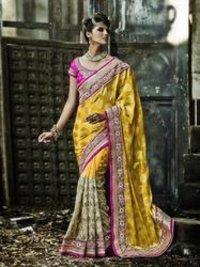 Yellow Color Pure Crepe Jacquard Fabric Designer Saree