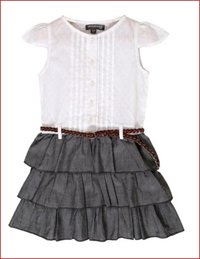 Frill Skirt Dress with Belt