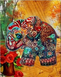 Traditional Elephant With Flowers Painting