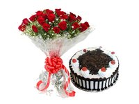Roses With Black Forest Delight Combo