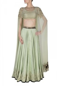 Mint Green Lehenga With Attached Dupatta Blouse