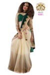 Beige and Green Georgette Womens Saree