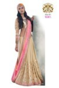 Beige and Pink Color Jacquard Saree