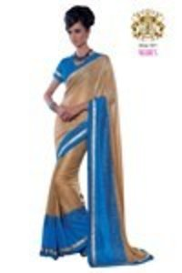 Beige and Blue Color Shimmer and Crape Mixed Material Saree