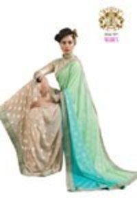 Beige and Green Color Georgette Saree