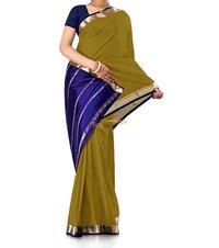 Contrast Mehandi Pure Crepe Silk Saree