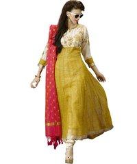 Deepkala Silk Heritage Yellow Pure Jute Salwar Suit