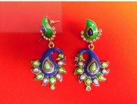 Twin Peacocks Earrings