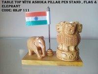 Table Top Ashoka Pillar Pen Stand Flag And Elephant