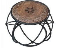 Wrought iron stool with round top