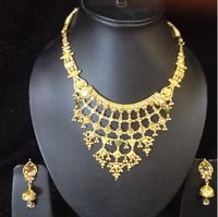Traditional Gold Necklace with Gold Beads Work