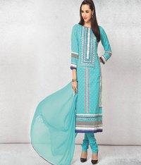 Light Blue Printed Cotton Dress Material