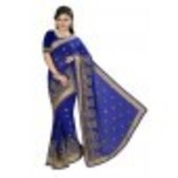 Zari And Mirror Embroidery Work Saree