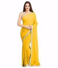 Yellow Georgette Lace Work Saree