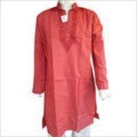 Brick Red Lucknowi Chikankari Mens Kurta