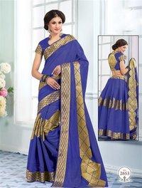 Blue Tussar Silk Self Print Saree With Matching Blouse Fabric
