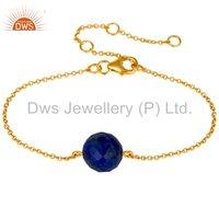 Lapis Lazuli Gemstone 925 Silver Chain Bracelet
