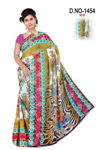 Synthetic Silk Saree With Blouse