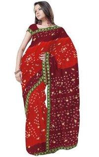 Exclusive Chiffon Bandhej Maroon Sari Blouse