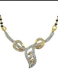 Diamond studded Plated Gold Mangalsutra Necklace