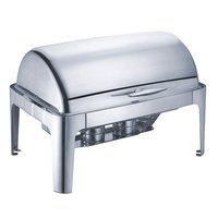 8 Qt. Rectangular Mirror Finish Stainless Steel Roll Top Chafer (Top)