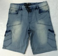 Men'S Acid Blue Color Denim Cargo Jogger Short