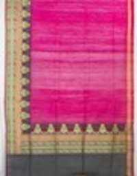Rani Tassar Plain Skirt Border Saree