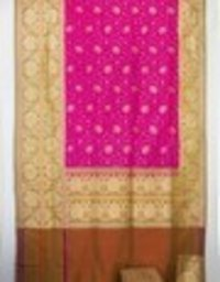 Majneta Pure Silk Upada Jal With Contrast Skirt Border Saree