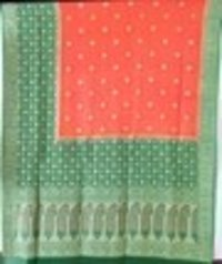 Orange Georgette Skirt Border Saree
