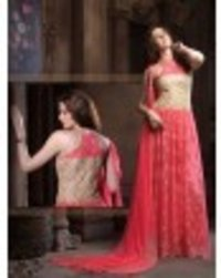 Red Colored Net Embroidered Wedding Semi Stitched Gown With Dupatta