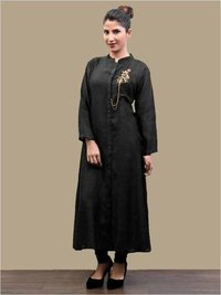 Organic Black Ladies Kurta With Mandarin Collar