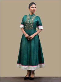 Organic Emerald Green Kalidar Kurta Top