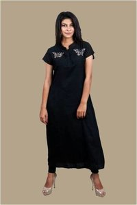 Organic Black Embroidered Ladies Top