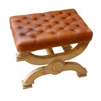 Leather & Glass Stool